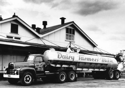 Dairy Farmers milk truck outside ICCD c.1956. Donated by Don Grey.