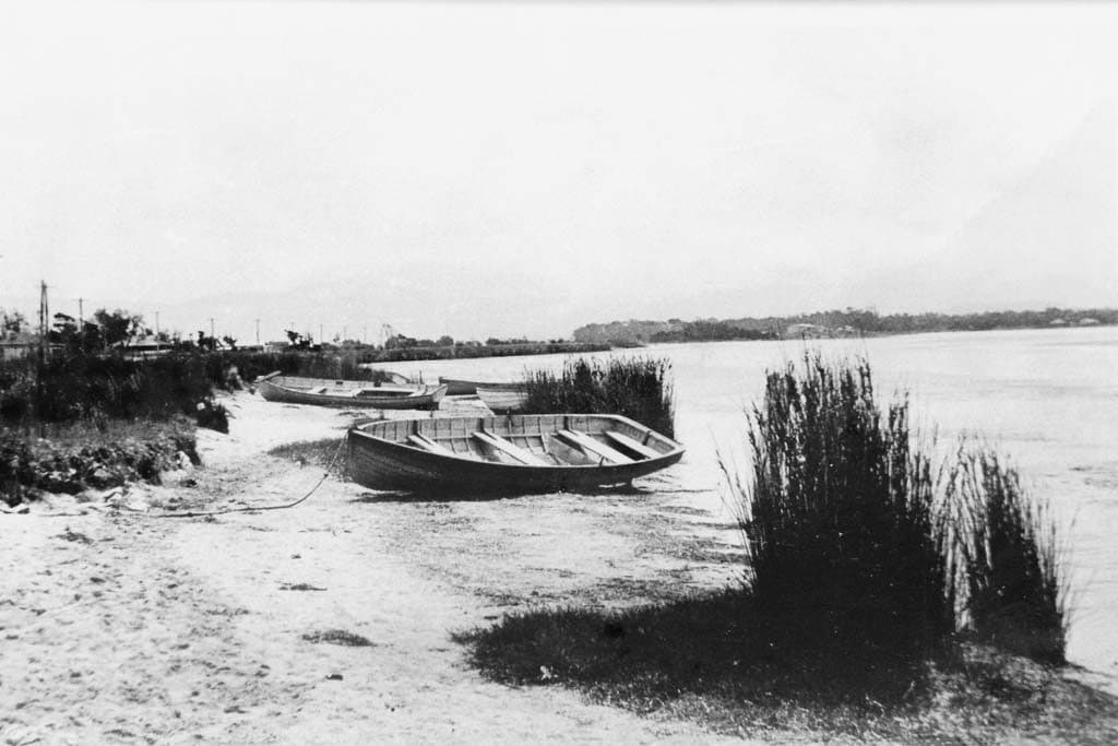 Fishing boats moored at the Lake Illawarra c.1930. Shellharbour City Council collection.